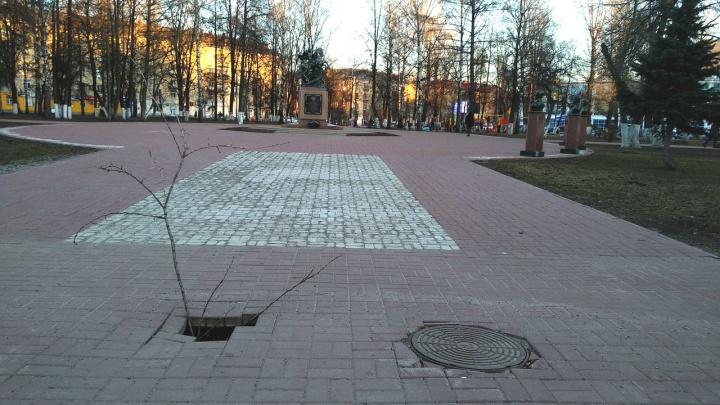 «Предупредите родителей!». В парке у детской площадки провалилась плитка: яма метровой глубины