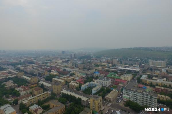 Красноярск в смоге летом 2018 года<br>