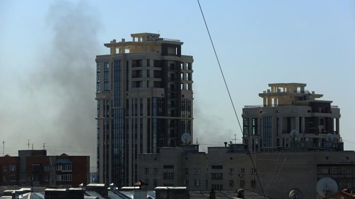 На левом берегу Новосибирска начался пожар