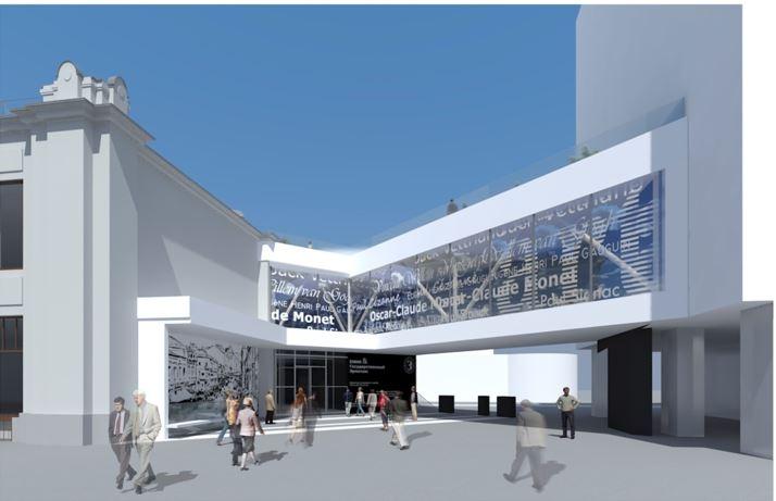 Так будет выглядеть главный фасад центра. Над входом появится кафе. В летнее время крыша превратится в террасу