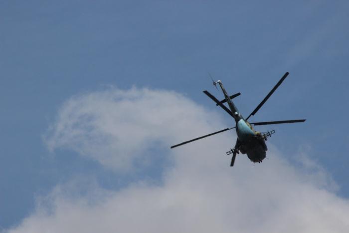 Ми-8 в небе над центром Новосибирска вечером 2 июня