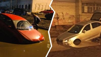 В Брагино в коварной луже тонут машины: 8 фото смельчаков, решивших её переехать
