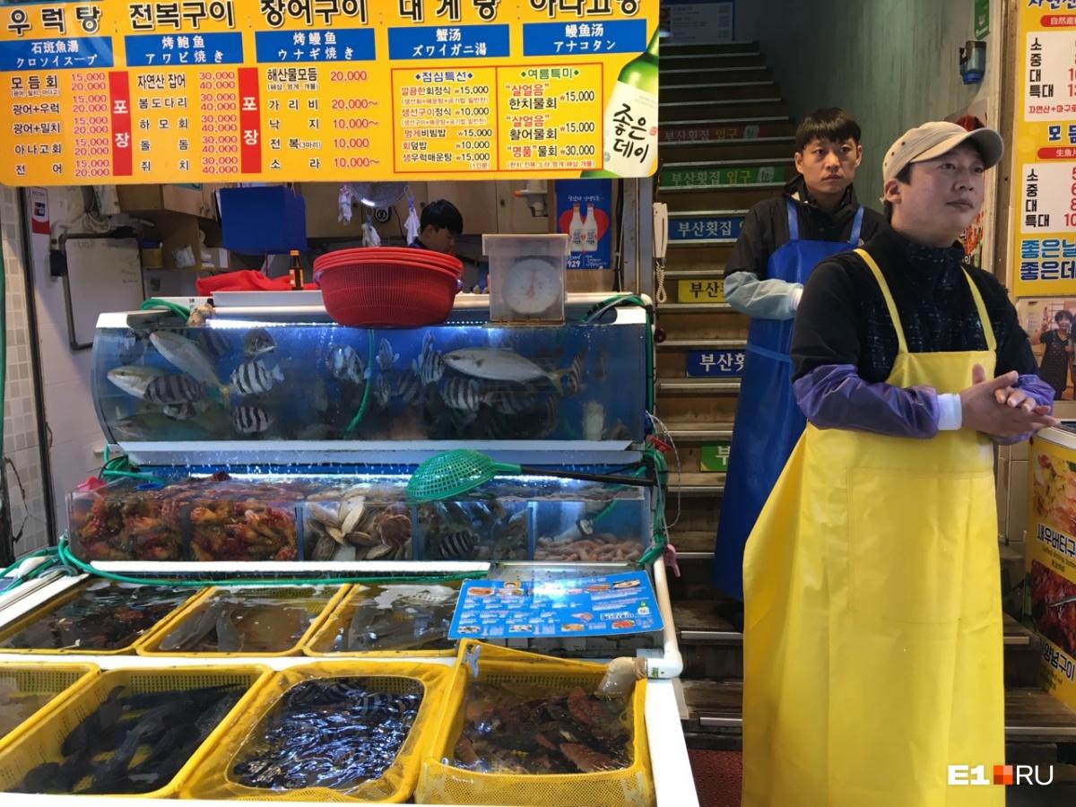 Почти за каждым прилавком — вход в рыбный ресторан