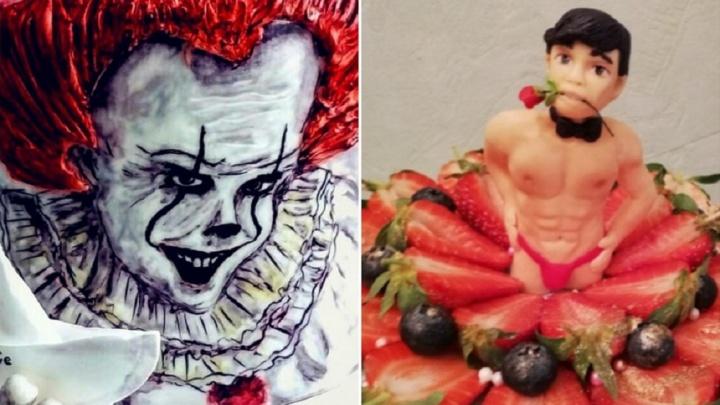 10 странных тортов от тюменских кондитеров:в виде попы со стрингами и с портретом клоуна Пеннивайза