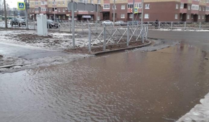 В Ярославле затопило улицу, сделанную по нацпроекту «Безопасные и качественные автомобильные дороги»