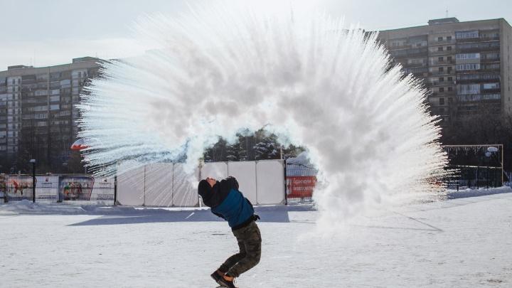 #дубакчелленджв Тюмени: любуемся красотой и учимся правильно делать ледяной фейерверк в воздухе