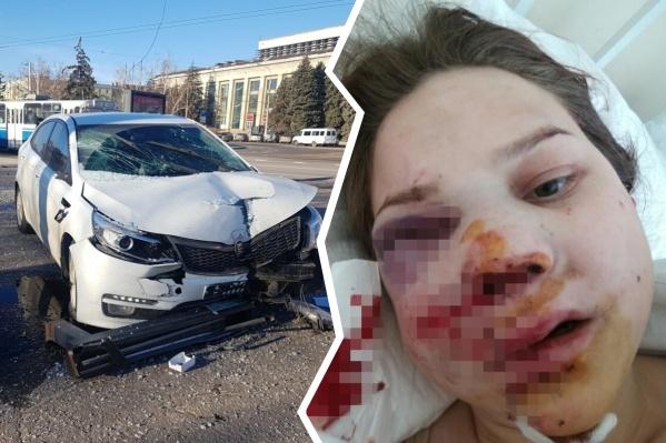 Ольга Пискотина оказалась на пути врезавшейся в остановку машины