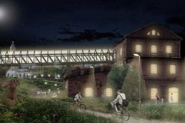 Там, где архитекторы запроектировали мост, раньше была железная дорога прямо в цех. Она сохранилась лишь частично