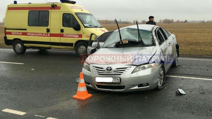 На трассе в Башкирии перевернулась Toyota