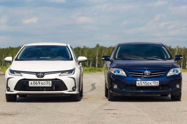 Модель Toyota Corolla двух разных поколений