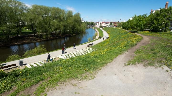 Обновлённый участок набережной Исети на Горького откроют для пешеходов в августе