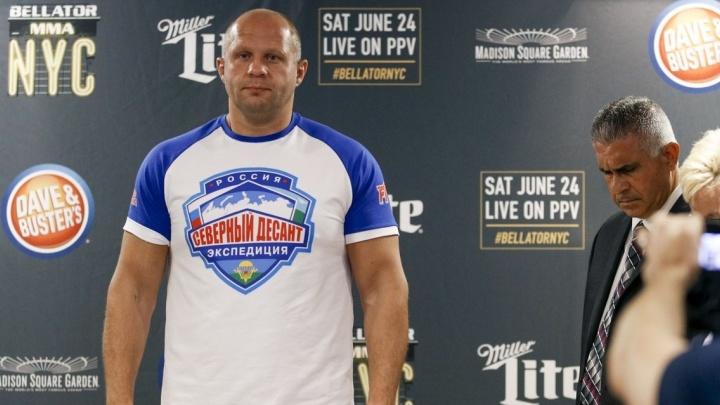 Фёдор Емельяненко накануне боя оказался на 10 килограммов легче соперника - американца Мэтта Митриона