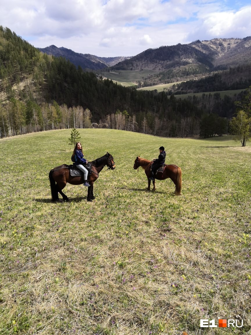 Прогулка на лошадях в окрестностях села Узнезя (недалеко от Чемала). Нас привезли и увезли на машине