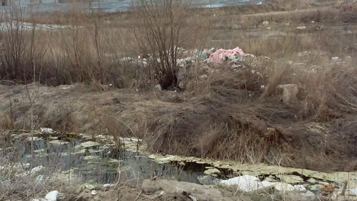 Омич пожаловался на мусор и болото за забором нового детсада на левобережье