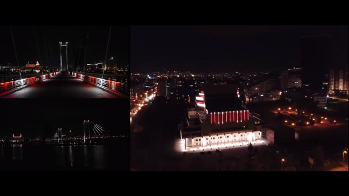 Видео: подсветку Вантового моста и БКЗ настроили под ритм музыки