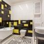 Контрастная геометрия и ванна на лапах: дизайн для просторного санузла