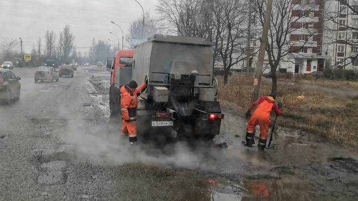 В Ярославле на Ленинградском проспекте рабочие сделали «асфальтовый суп»