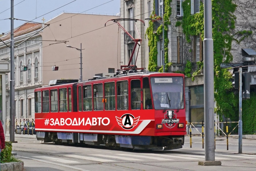 Такой трамвай будет ходить по городу в ближайшие три месяца. 14 марта он будет курсировать примерно с 15:30 до 18:30 от ЦПКиО до остановки «Дворец спорта» (по маршруту № 33)