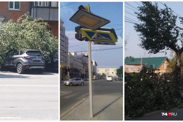 Последствия короткого разгула стихии видны по всему городу