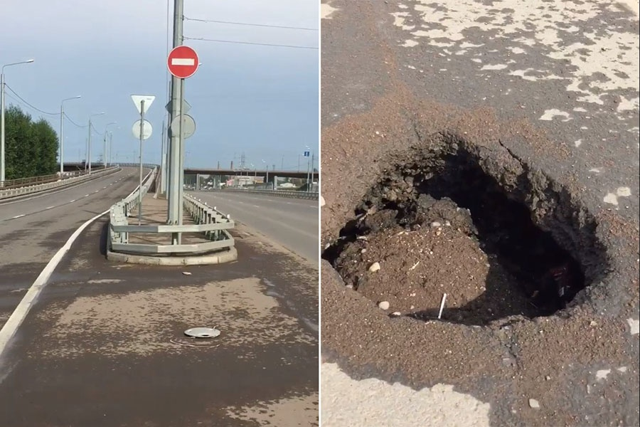 ВКрасноярске провал на4 мосту устранят совсем скоро