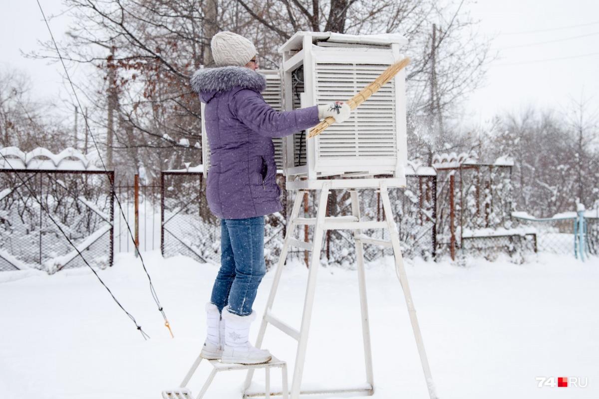 Сугробы на метеостанции убирать нельзя, снег можно счищать только с приборов. Аккуратно, маленьким веником