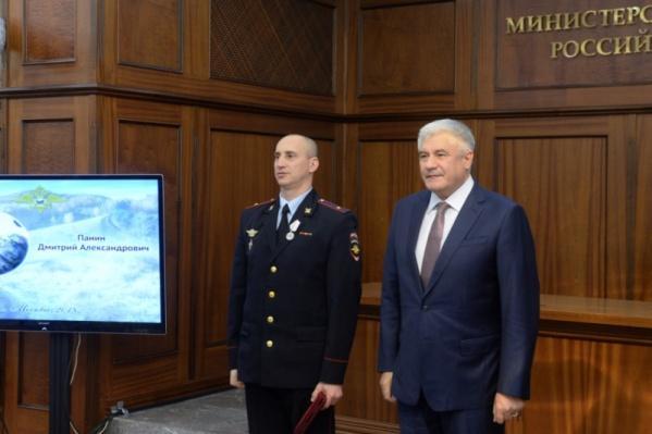 Медаль получил капитан полиции Красноярского края Дмитрий Панин
