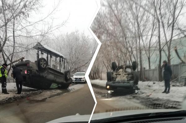 Машина получила сильные повреждения