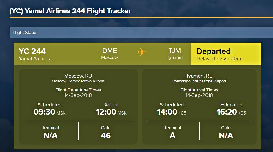 Время вылета (левая колонка) и прилёта (правая колонка) указано местное