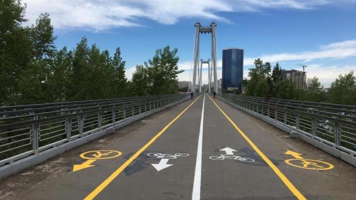 На вантовом мосту выделили полосы для велосипедистов