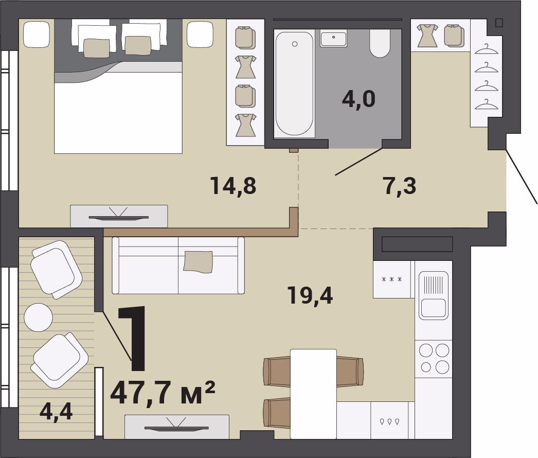 Однокомнатная квартира от 47 кв. м подойдет и холостяку, и семейной паре. После рождения ребенка спальню можно превратить в детскую