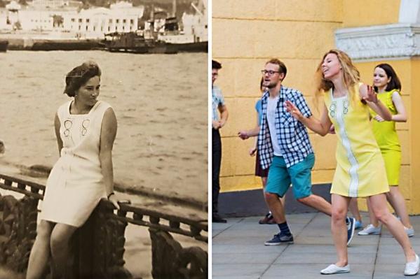 Платье в стиле Твигги досталось Хельге по наследству от бабушки