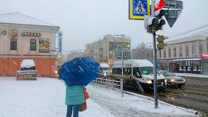 В Омске выпала снежная крупа