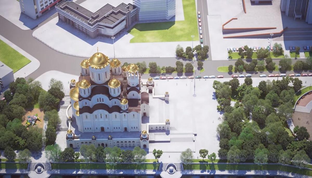 Если храм будут строить в сквере, то с высоты это будет выглядеть так