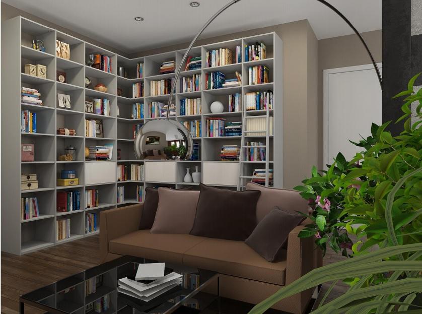 И большой книжный шкаф