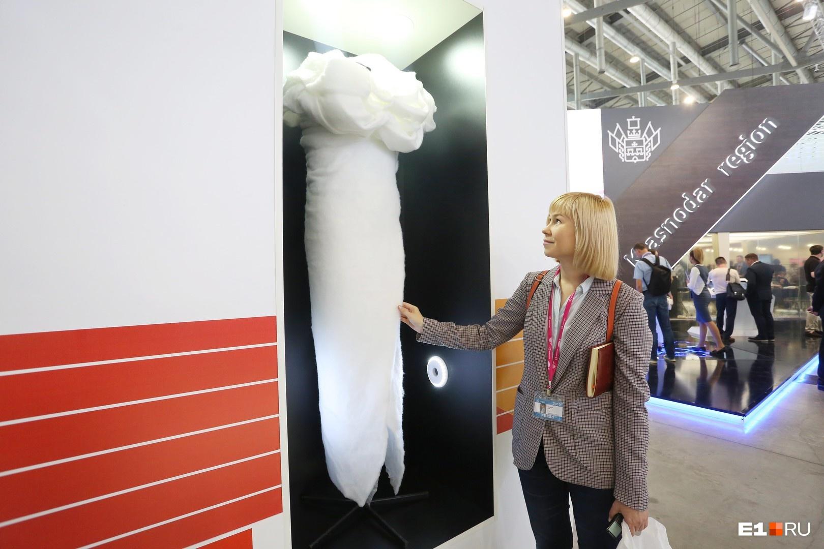 Это уже, вероятно, фантазия дизайнеров-оформителей выставки Минпромторга на «Иннопроме». Что это за кокон, на самом стенде нам так никто и не смог объяснить