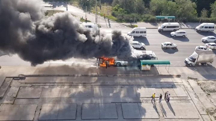 «Вот так в Волгограде горят автобусы, ребята»: очевидцы сняли на видео сгоревший за 10 минут автобус