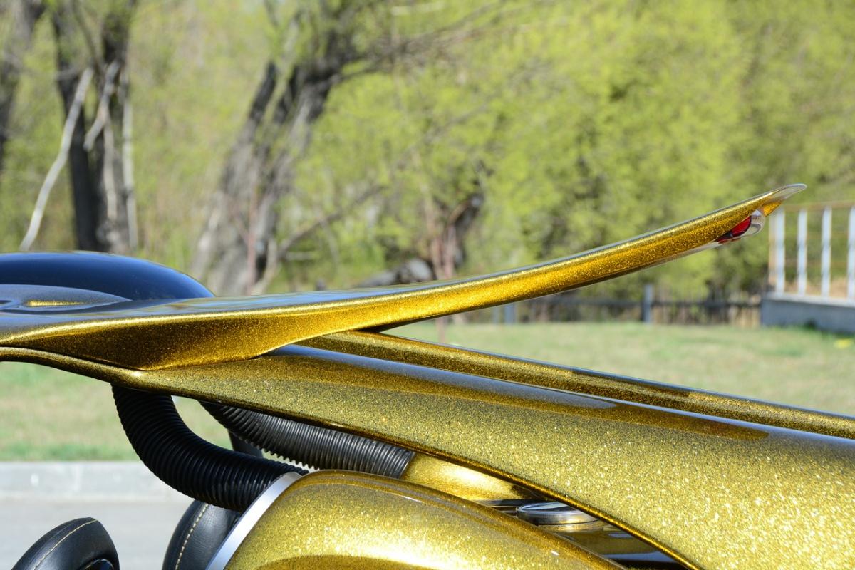 Кокетливый лепесток над капотом в задней части машины смотрится очень эффектно: такие детали придают машине очень стильный вид
