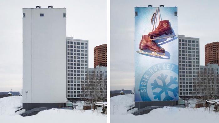 Художники решили расписать логотипами «Сибири» стену высотки у нового ЛДС