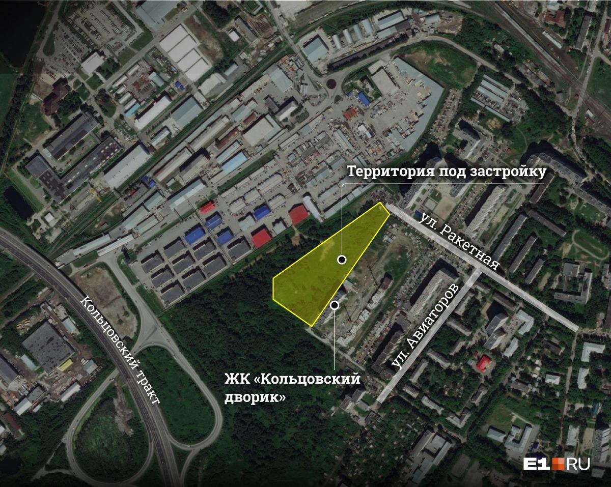 На карте выделен участок под застройку. Его площадь — 26,3 тысячи квадратных метров