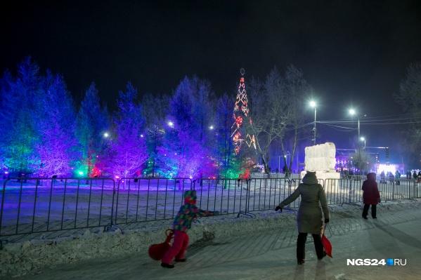 Красноярская елка в праздничной иллюминации
