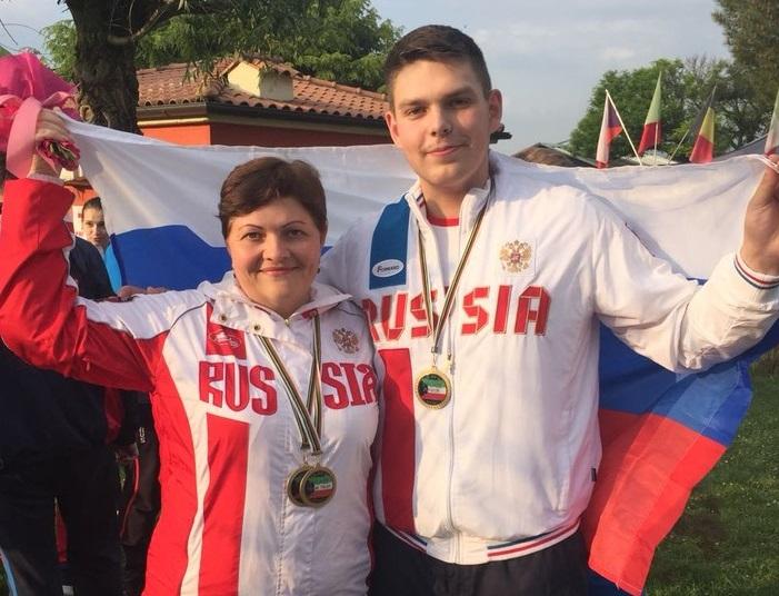 Победители в «Трапе» Людмила Пшеничникова и Геннадий Мамкин (юниорские соревнования)