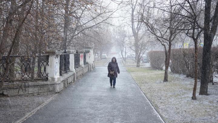 Давно не виделись, зима: в апрельский деньЕкатеринбург опять засыпало мокрым снегом
