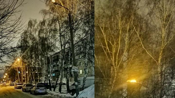 В Стерлитамаке уличный фонарь установили вверх ногами и теперь он освещает небо