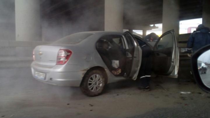 В Уфе на выезде из тоннеля загорелся автомобиль