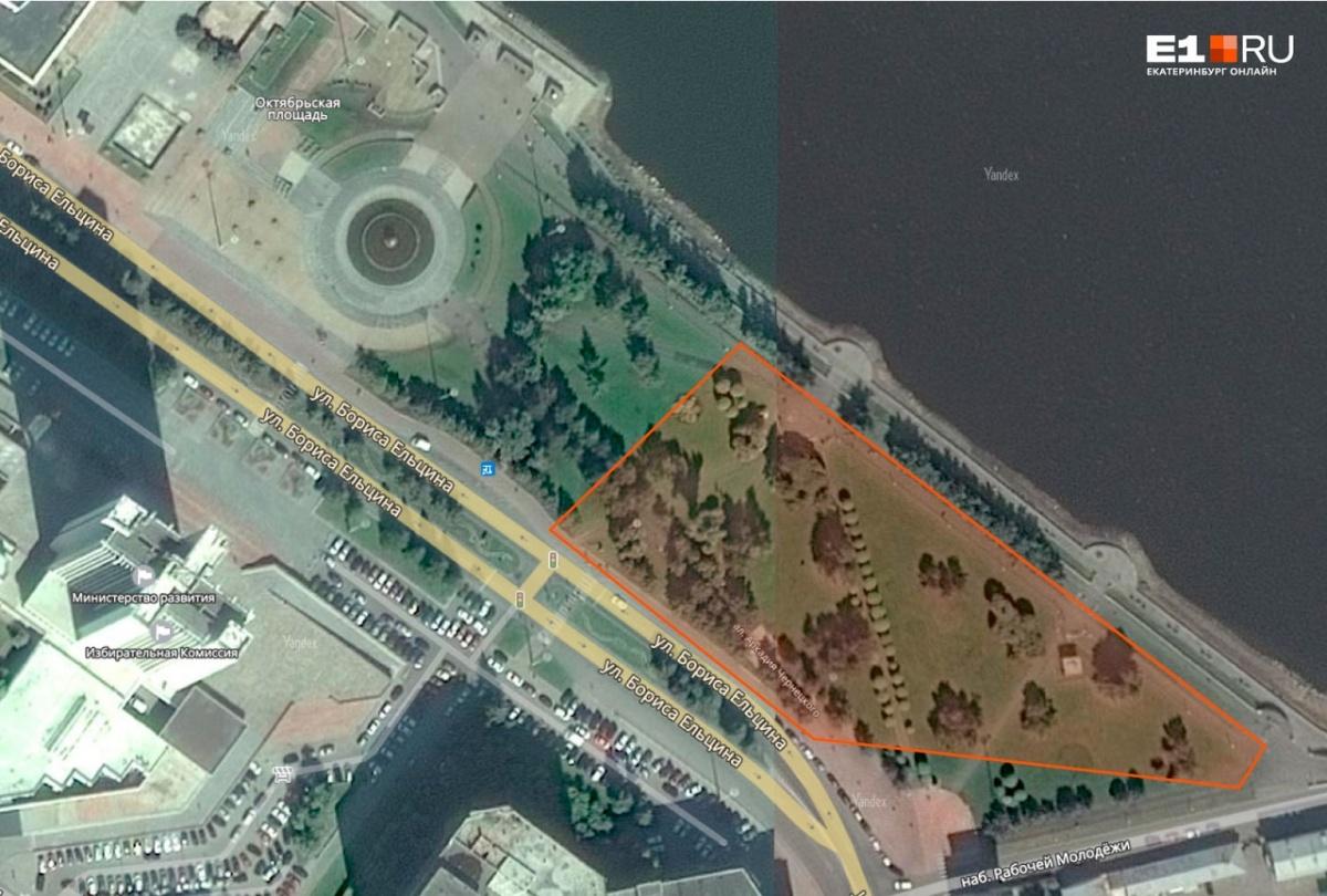 На карте отмечена территория, которая огорожена забором