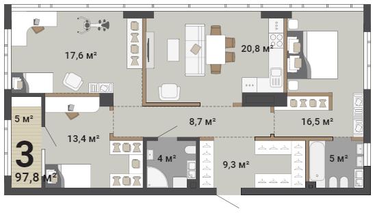 Высота потолков в таких квартирах — 3 м
