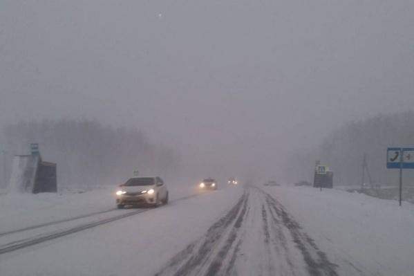 На трассе Тюмень — Омск видимость на дороге не превышает 80 метров