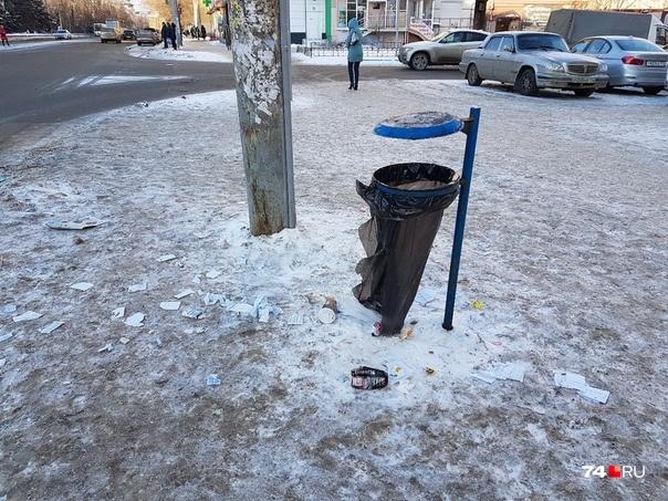 Пакеты не выдержали натиска мусора в новых урнах