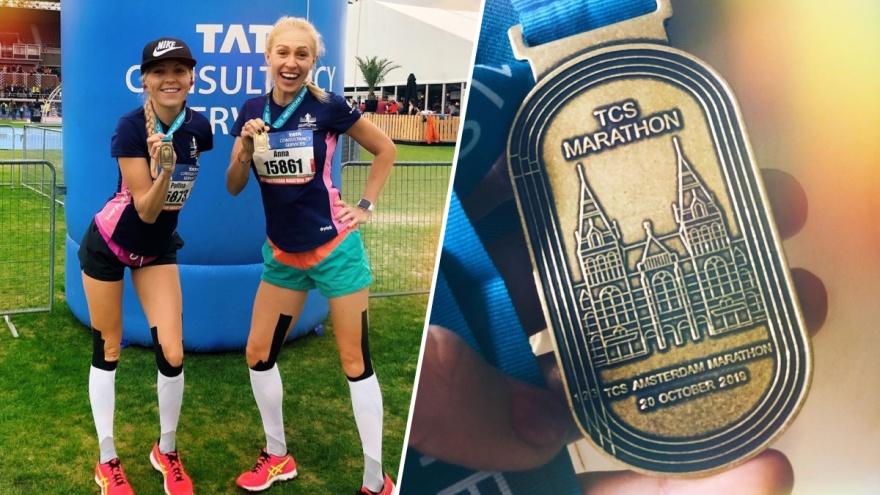 Две сестры из Новосибирска пробежали 42 километра за 4 часа на Амстердамском марафоне