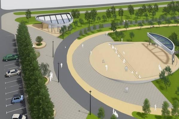 В парке будут зеленые зоны, игровые и пространства с лавочками и другой уличной мебелью